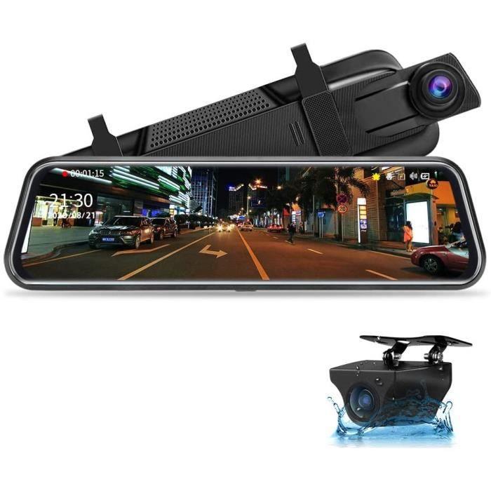 Jansite 10- Dashcam Voiture Rétroviseur Écran Tactile, Arrière et Avant Full HD 1080P Streaming Media DVR 170 ° Grand Angle de Visio
