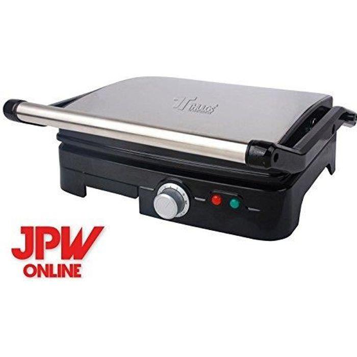 JPWonline - Thulos - Moule à sandwich grill panini électrique aperture 180º antiadhesive 2000w -GRIS-