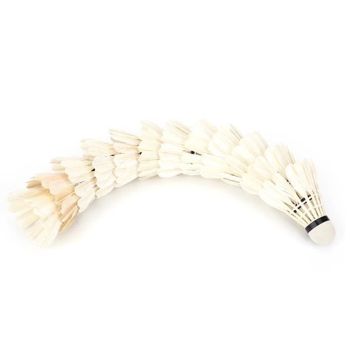 Fdit Badminton 12 Pcs / Lot balles de badminton en plumes blanches volants accessoire de formation de sports de plein air