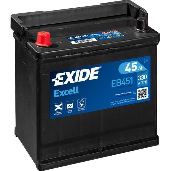 BATTERIE EXIDE EXCELL E2 12V 45AH 330A 220X135X225 +G EB451