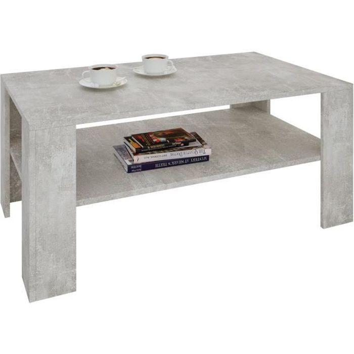 Table basse LORIENT, table de salon rectangulaire avec 1 étagère espace de rangement ouvert, en mélaminé décor béton