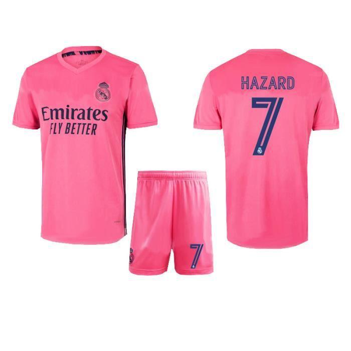 7XL Nouveau maillot du Real Madrid 20-21 de la Ligue des champions de l'UEFA N° 7 Azhar : maillot de football pour l'équipe mascul