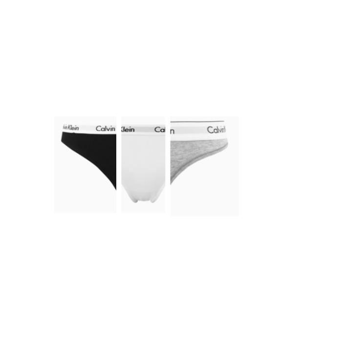 CALVIN KLEIN Pack de 3 Femmes Coton Homme Noir-Blanc-Gris