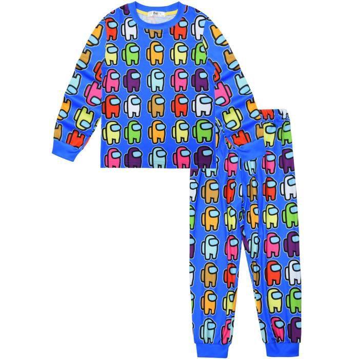 Among Us Enfant Accueil Vêtements Manche longue Ensemble de Pyjama - Bleu