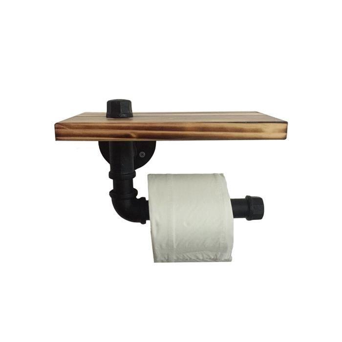 Noir Mat Tube FerIndustriel Porte Rouleau de Papier Toilette Mural avec Etagère de Rangement en Bois(L:24mm)