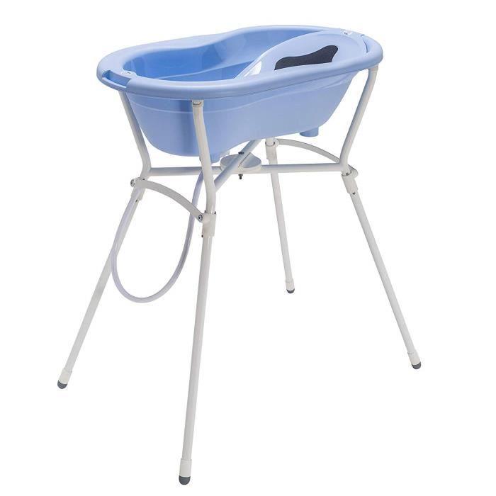 Rothobabydesign Rotho Babydesign Set de Bain Complet avec Baignoire et Support Pliant, 0-12 mois, Max 25kg, TOP, Bleu Ciel, -