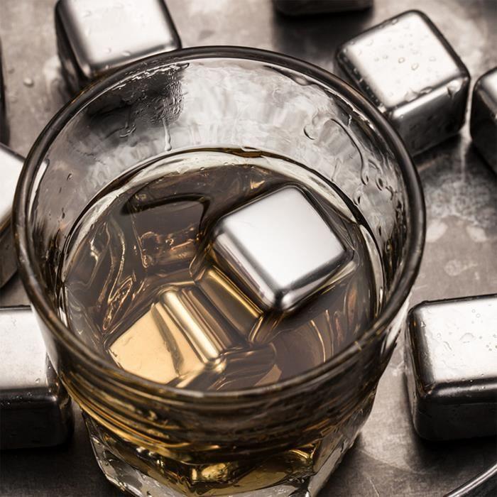 TD® 12 X Bacs a Glacons Whisky Pierre a Whisky congélateur Acier Inox Réutilisables Glacons en Inox pour Raffraichir les Boissons