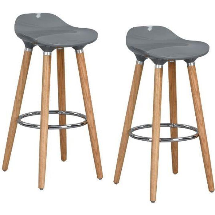 TABOURET DE BAR FurnitureR Lot de 2 Tabouret de Bar Scandinave Cha