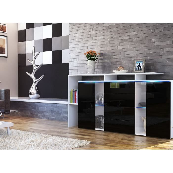 buffet enfilade blanc et noir 160cm achat vente buffet bahut buffet enfilade blanc et no. Black Bedroom Furniture Sets. Home Design Ideas