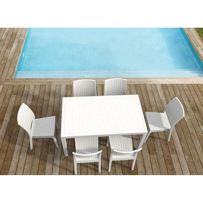Table jardin en résine ORLANDO 140 Blanc - Achat / Vente ...
