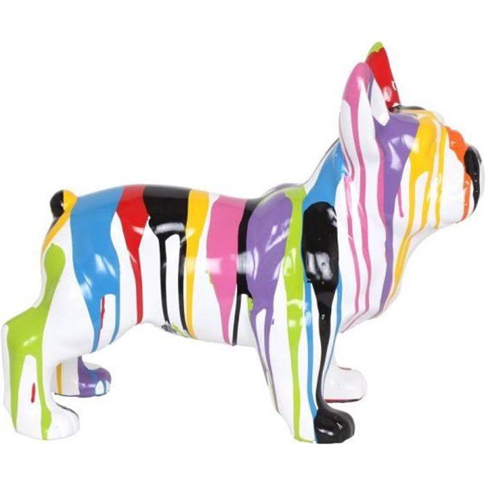 STATUE - STATUETTE Statue chien en résine bouledogue Français multico