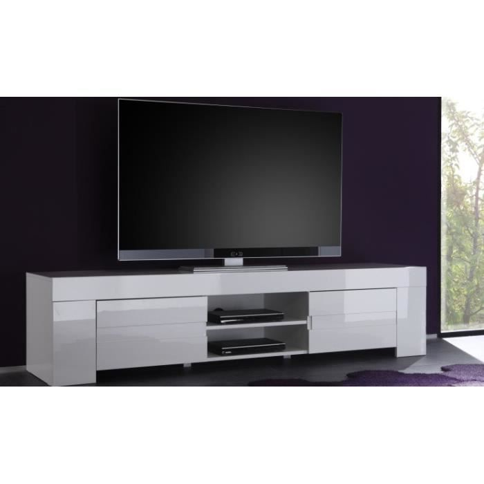meuble tv hifi vid o 190 cm design laila coloris blanc. Black Bedroom Furniture Sets. Home Design Ideas