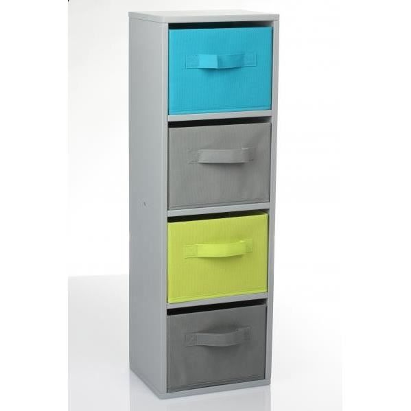 meuble cube avec 4 tiroirs gris bleu et vert achat. Black Bedroom Furniture Sets. Home Design Ideas