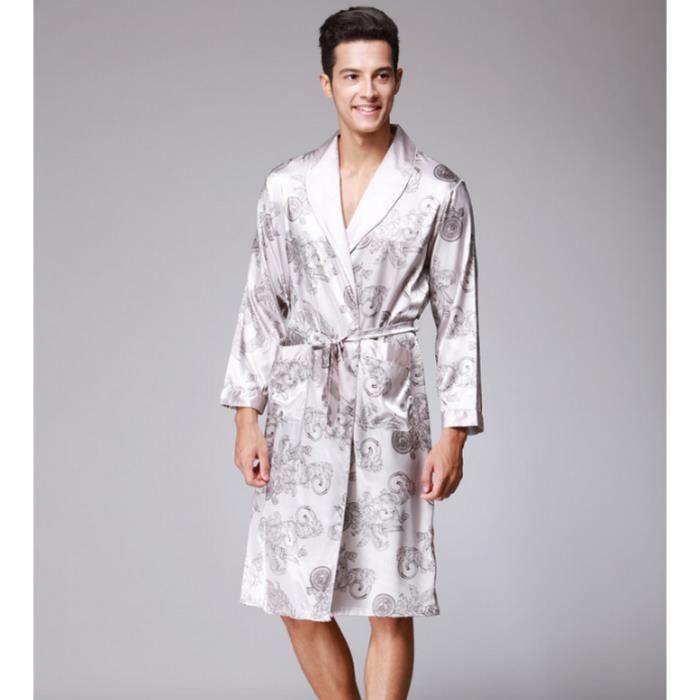 Printemps Automne De Luxe Peignoir Hommes Imprimer Plus La Taille Soie Satin Pyjamas Kimono été Mâle Chemise De Nuit Soie Robe