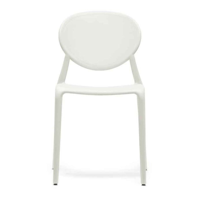 Chaise design blanche medale lot de 6 achat vente chaise polypropylene - Chaise resine blanche ...