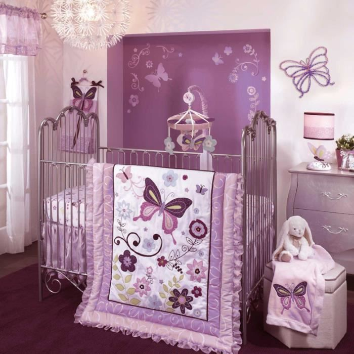 ensemble de literie luxe papillon pour enfants achat vente parure de lit b b. Black Bedroom Furniture Sets. Home Design Ideas