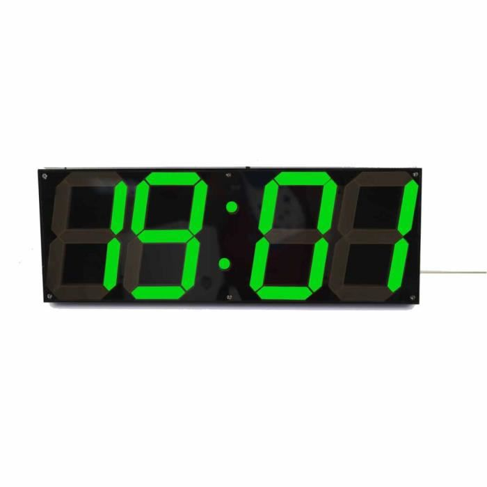 SHINA Télécommande Jumbo Digital Led Horloge murale, Multifunction Led  cloche -vert-EU Plug