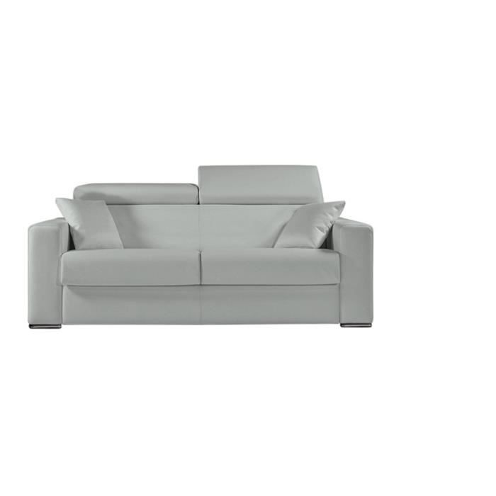 canap convertible omega vrai cuir gris clair 160 achat vente canap sofa divan cuir. Black Bedroom Furniture Sets. Home Design Ideas
