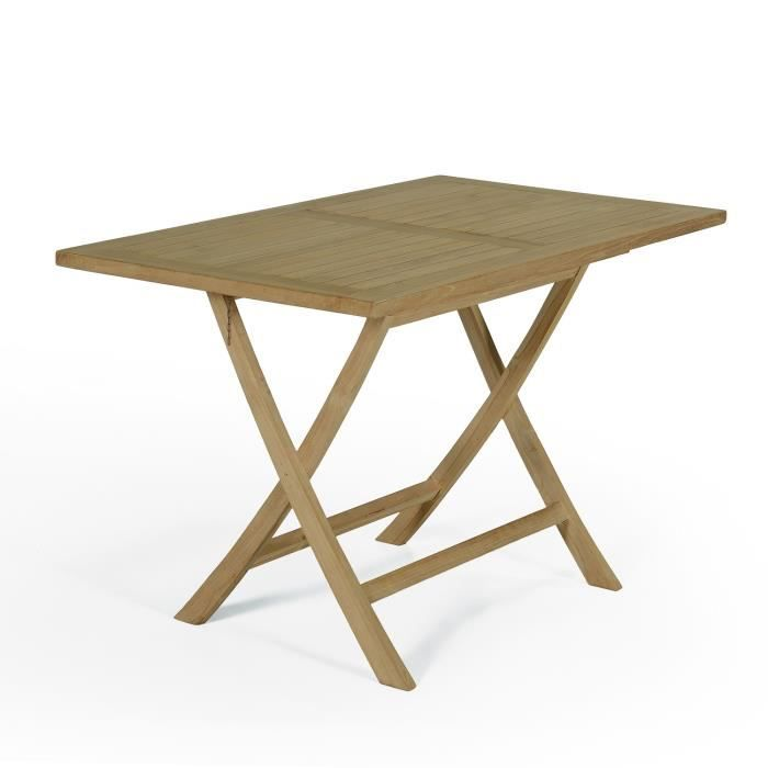 Table pliante rectangulaire en teck 120x70 cm achat - Table pliante teck ...