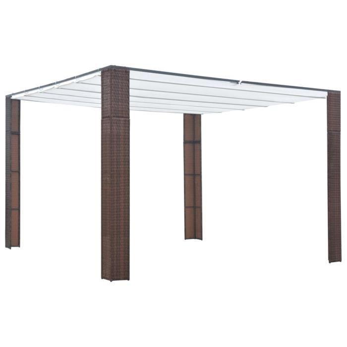 ABRI JARDIN - CHALET vidaXL Tonnelle avec toit Résine tressée 300x300x2
