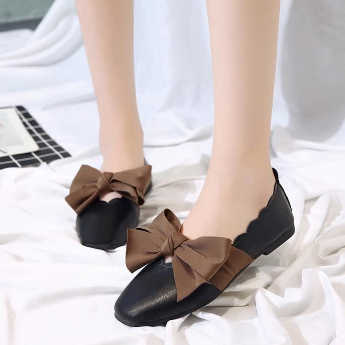 Shoes On Flat Bowknot Pointed 853 Low Noir Shallow xz Toe Heel Single Femmes Slip Fwzg4qHW