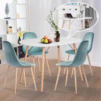 Table à manger Ovale Table de Salon Table Appoint pour 4-6 personnes style scandinave nordique Bois en blance L120 x P70 x H75cm