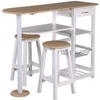 TABOURET Table-bar et 2 tabourets blanc, L 119 x P 37 x H 8