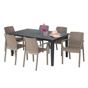 SALON DE JARDIN   Salon de jardin: table  graphite + 6 fauteuils ta