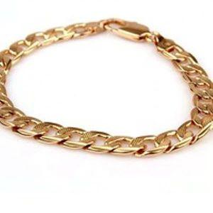 BRACELET - GOURMETTE Bracelet solide Gourmette 8.26in 7mm or jaune 18 c
