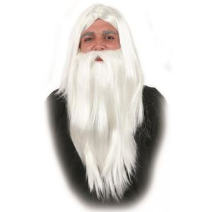 Gris Homme Sorcier Masque /& Barbe Set-perruque robe fantaisie Merlin