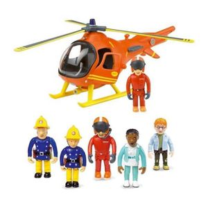 FIGURINE - PERSONNAGE Fireman Sam Mountain Rescue Helicopter & 5 Figure