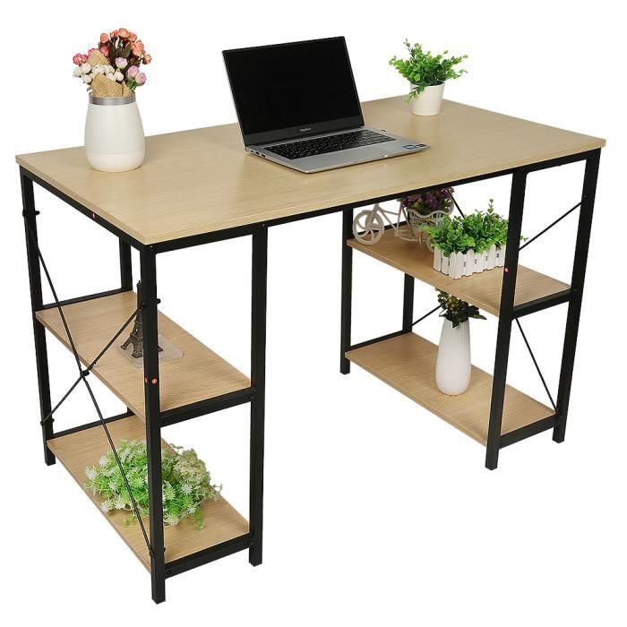 HEK Bureau Table d'ordinateur Portable Style Industriel avec 4 étagères Table Industrielle en Bois et métal