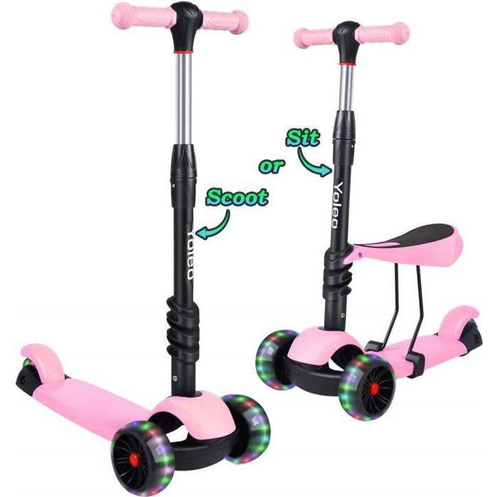 Yoleo 3en1 Trottinette Scooter Enfants avec Siège Amovible Roues à LED Hauteur Réglable 65cm à 77cm Cadeau Jouet Enfant 2-8 Ans Rose