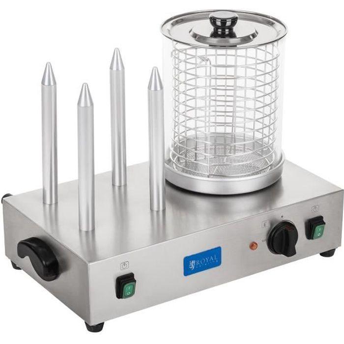 Machine à hot-dog avec 4 plots 2x300W Température 0°C-95°C Taille du cylindre 24 cm Diamètre cylindre 20 cm Royal Catering RCHW-2300