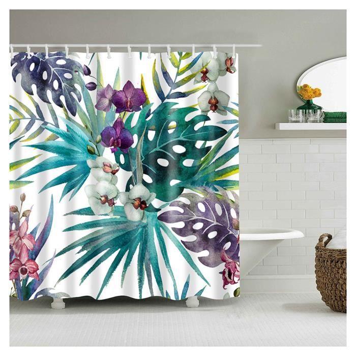 Rideau de Douche Motif Tissu en Polyester avec 12 Crochets,Imperméable et Anti moisissure Facile à Nettoyer 16 180*180cm
