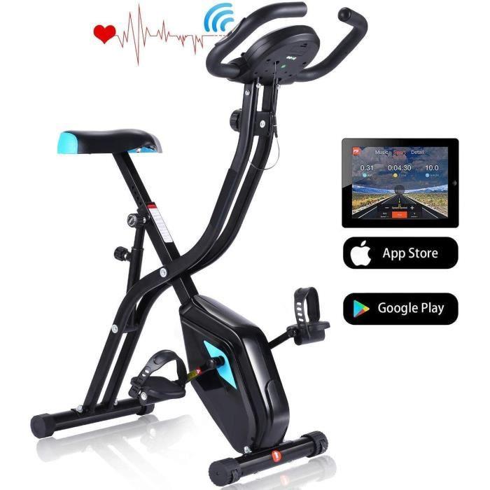 Vélo d'Appartement Pliable Vélo d'Exercice APP 10 Niveaux de Resistance magnétique, Vélo de Fitness avec Support pour Tablette/Télé