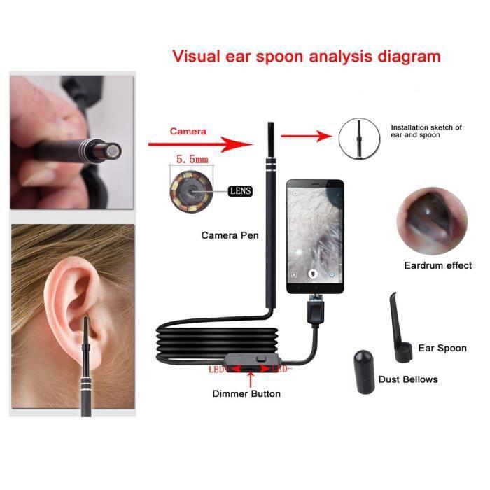 2-en-1 USB Oreille Nettoyage Endoscope HD Visuel Oreille Cuillère Multifonctionnel Earpick Avec Mini Caméra Oreille Outil De Nettoya