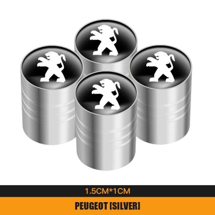 Taille Un argent Bouchons de tige de Valve de pneu de roue de voiture en métal, 4 pièces, pour Peugeot 206 307 308 3008 207 208 40