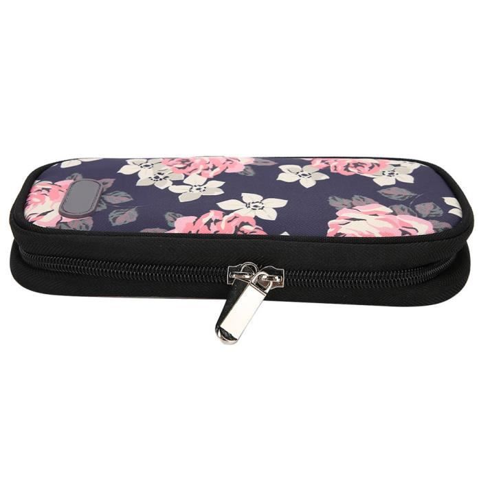 ARAMOX sac de rangement Sac isotherme réfrigéré à insuline portable pour les soins des patients (fleur rouge à fond noir)