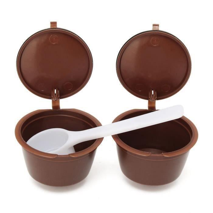 2 en 1 Réutilisables Filtres Capsules De Café Expresso Avec Cuillère Pour Dolce Gusto Reusable café Capsule Cup QUIKF4072