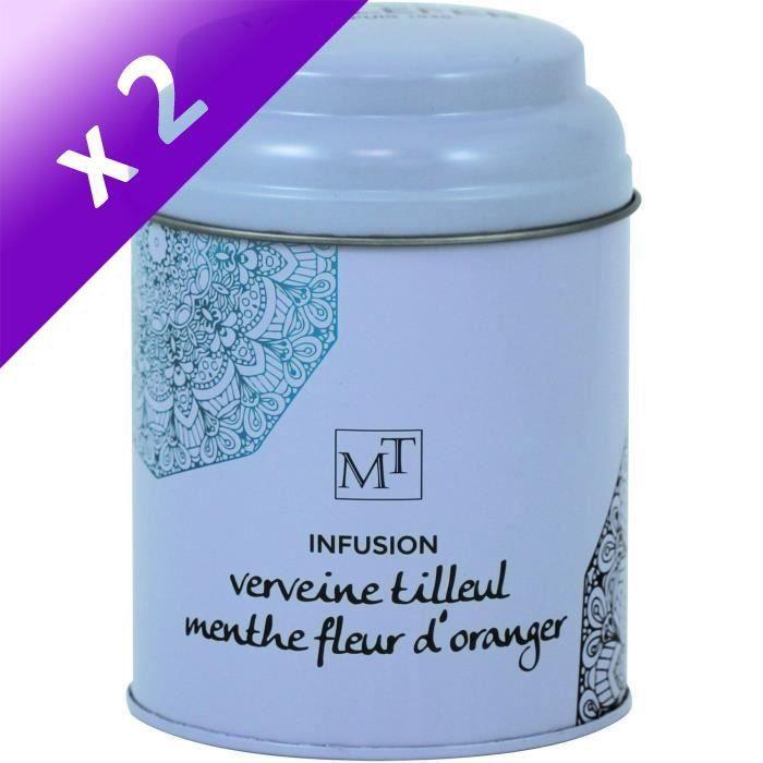 [LOT DE 2] MAISON TAILLEFER Infusion Verveine Tilleul Menthe Fleur d'oranger Boite Métal 80g