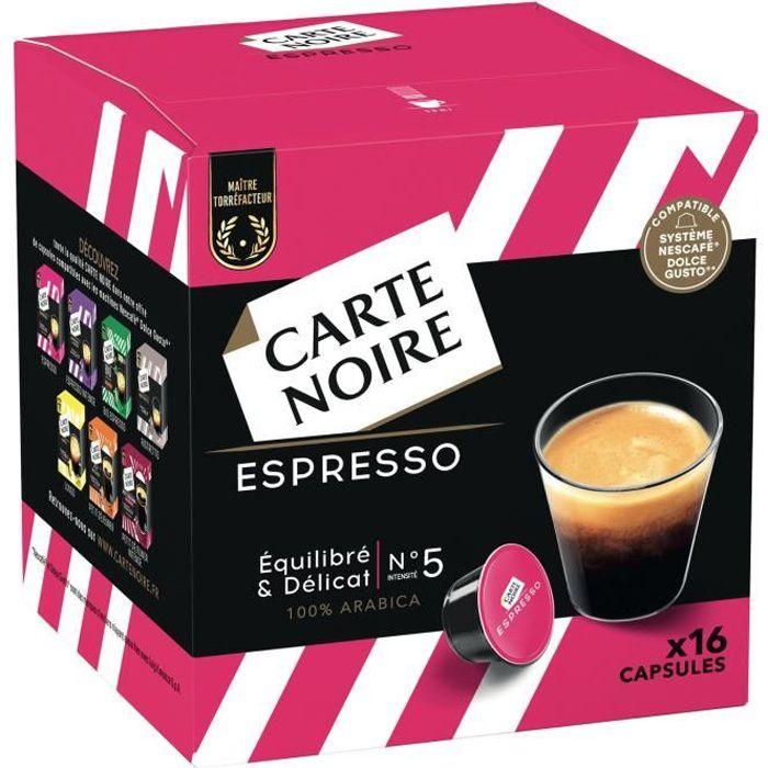 LOT DE 3 - CARTE NOIRE Café capsules Espresso N°5 Compatibles Dolce Gusto - 16 capsules de 8g