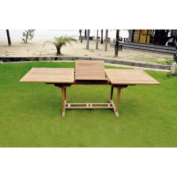 Table Kajang 10 : table de jardin rectangle extensible en teck brut 10 personnes