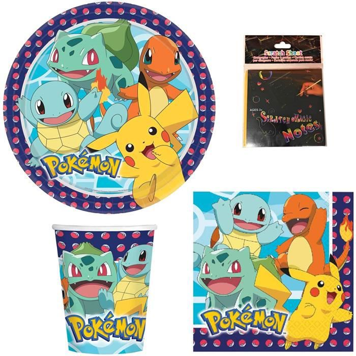 DECORATA PARTY Kit Accessoire Pokemon pour Fêtes et Anniversaire garçon et Fille
