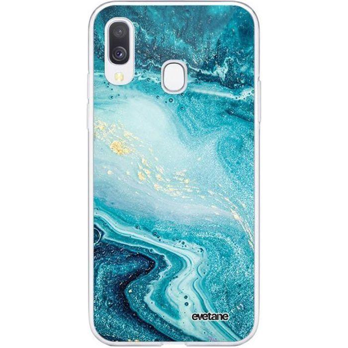Coque Samsung Galaxy A20e 360 intégrale transparente Bleu Nacré Marbre Ecriture Tendance Design Evetane.