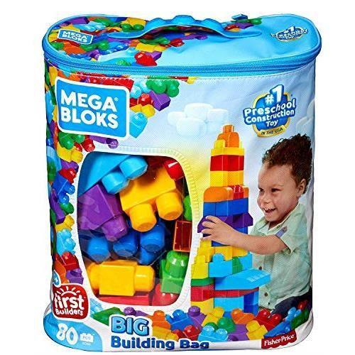 Mega Bloks Sac bleu, jeu de blocs de construction, 80 pièces, jouet pour bébé et enfant de 1 à 5 ans, DCH63 DCH63