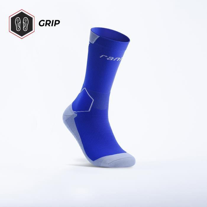 Chaussettes de football antidérapantes - Ranna - 100% Made in France - Bleu