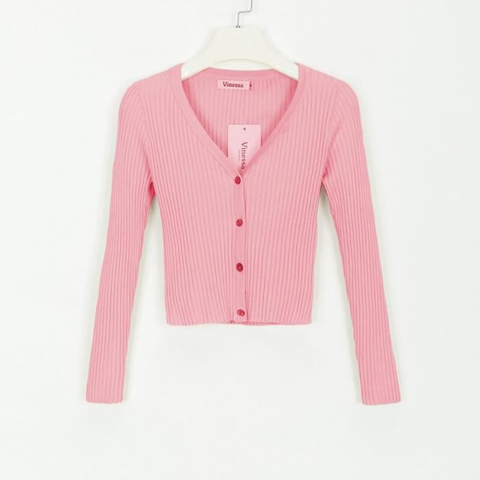 PULL,Boutons Sexy Pull tricoté femmes Cardigan Femme chandails rose automne hiver chandails recadrée Cardigan Femme - Type Rose