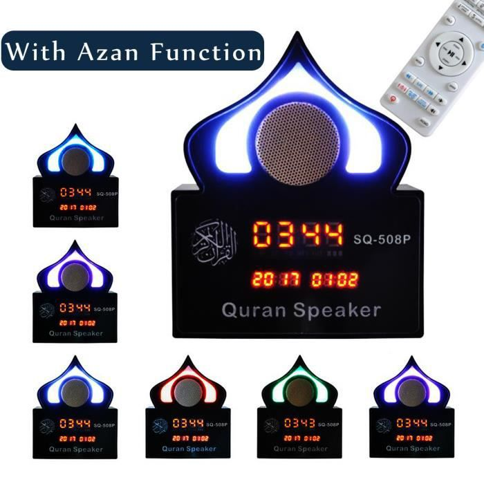 NEUFU Enceinte Bluetooth Horloge 7 LED Lumière Coran Récitant Azan FM MP3