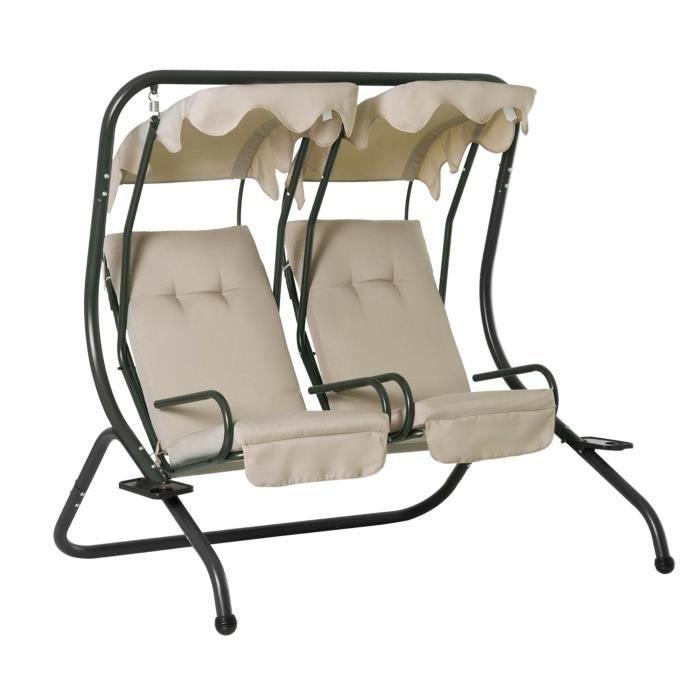 Balancelle de jardin 2 places indépendantes 2 tablettes supports coussins assise dossier grand confort 1,7L x 1,36l x 1,7H m acier n